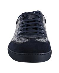 Gucci | Blue Navy Gg Plus Trimmed Sneakers for Men | Lyst