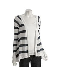 Jamison | Blue Navy Linen Striped Cardigan | Lyst