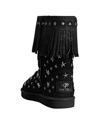Jimmy Choo - Ugg For Jimmy Choo Black Suede Studded Starlit Shearling Boots - Lyst
