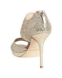 Jimmy Choo | Metallic Champagne Glitter Fabric Lagoon Sandals | Lyst