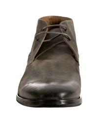 John Varvatos - Gray Lead Leather Ago Chukka Boots for Men - Lyst