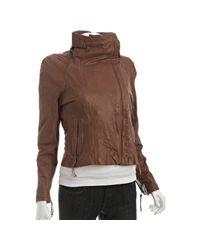 June - Brown Cognac Leather Wide Collar Jacket - Lyst