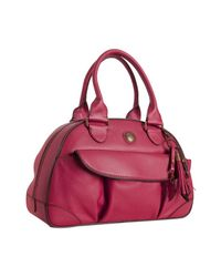 Lancel | Red Pebbled Leather Bowler Bag | Lyst