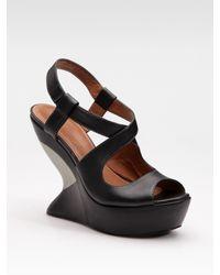 Leifsdottir | Black Cutout Wedge Platform Sandals | Lyst
