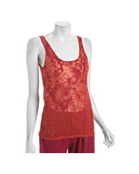 Lucky Brand | Red Terracotta Cotton Stencil Flower Burnout Tank | Lyst
