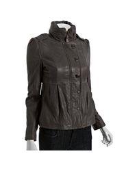 Mackage   Gray Gunmetal Lamb Leather Alexa Stand Collar Jacket   Lyst