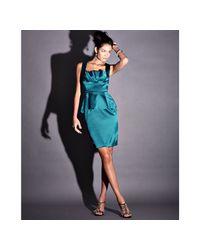 Marc Bouwer Glamit! - Blue Teal Stretch Satin Peplum Dress - Lyst