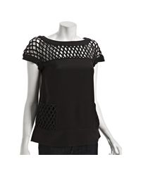 Marc By Marc Jacobs | Black Silk Crepe Net Detail Top | Lyst