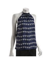 Marc By Marc Jacobs | Twilight Blue Silk Bow Print Halter Top | Lyst