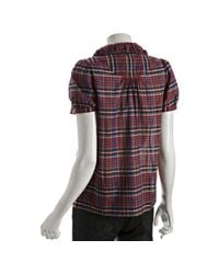 Marc By Marc Jacobs | Purple New Red Plaid Cotton Short Sleeve Blouse | Lyst