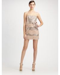 Mark + James by Badgley Mischka | Pink Sequined Tulle Ruffle Strapless Dress | Lyst