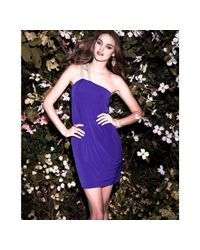Badgley Mischka - Bright Purple Jersey Asymmetric Dress - Lyst