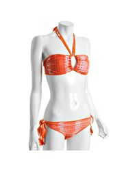 Martha Rey | Orange Nasturtium Abstract Print Bandeau Halter Bikini | Lyst