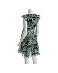 Nicole Miller - Blue Navy Cirrus Voile Tiered V-neck Dress - Lyst