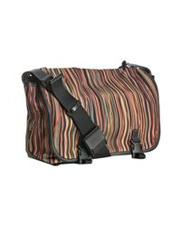 Paul Smith | Brown Striped Canvas Buckled Messenger Bag for Men | Lyst