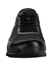 Prada | Sport Black Nylon Leather Trim Sneakers for Men | Lyst