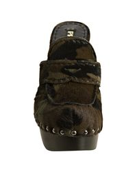 Prada - Military Green Camouflage Calf Hair Studded Platform Clogs - Lyst