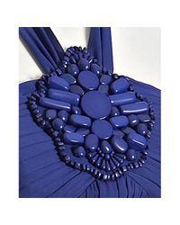 Shoshanna - Blue Iris Georgette Beaded Medallion Halter Dress - Lyst