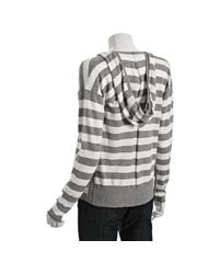 Splendid - Gray Heather Grey Stripe Cotton-cashmere Hooded Cardigan - Lyst