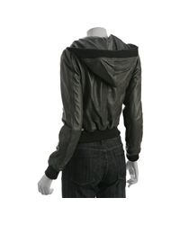 Stella & Jamie - Gray Grey Leather Ruched Hooded Bomber Jacket - Lyst