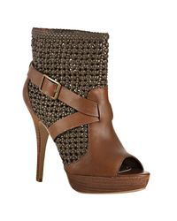 Steven by Steve Madden | Brown Cognac Knotted Leather Pokerr Platform Booties | Lyst