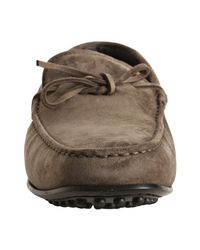 Tod's | Gray Mole Grey Suede City Gommino Moccasins for Men | Lyst