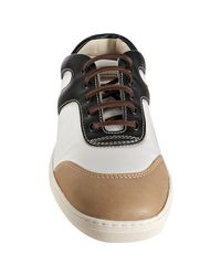 Tod's | Natural White and Black Nylon Leather Detail Competition Sneakers for Men | Lyst