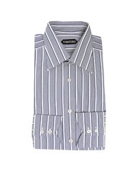 Tom Ford | Navy Blue Striped Cotton Point Collar Dress Shirt for Men | Lyst