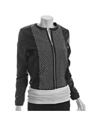 Torn - Black Leather Jackson Studded Zip Jacket - Lyst