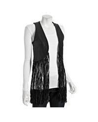 Torn | Black Leather Maggie Long Fringe Vest | Lyst