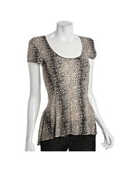Torn - White Cheetah Jersey Dori Scoop Neck Top - Lyst