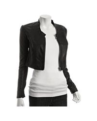 VEDA | Black Leather Alex Collarless Cropped Jacket | Lyst
