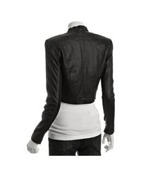 VEDA - Black Leather Alex Collarless Cropped Jacket - Lyst