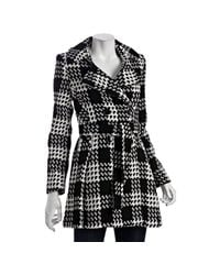 Via Spiga | Black and White Plaid Wool Blend Scarpa Belted Coat | Lyst
