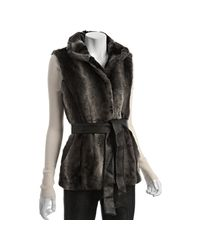 Via Spiga | Gray Grey Faux Fur Agnello Funnel Neck Belted Vest | Lyst