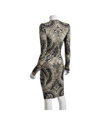 Alexander McQueen | Gray Grey Skull Printed Wool-silk Sweater Dress | Lyst