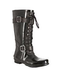 BCBGMAXAZRIA | Black Rubber Willis Lace-up Rainboots | Lyst