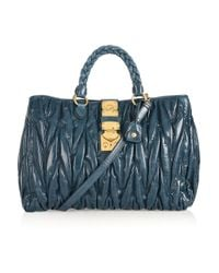 Miu Miu | Blue Matelassé Leather Bag | Lyst