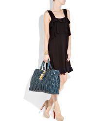 Miu Miu | Blue Matelassé Leather Bag | Lyst