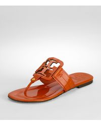 Tory Burch | Orange Square Miller Patent Leather Thong Sandals | Lyst