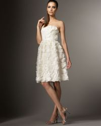 Carmen Marc Valvo | White Rosette Cocktail Dress | Lyst