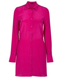 JOSEPH | Pink Poppy Silk Shirt Dress | Lyst