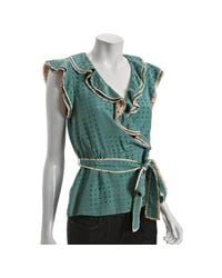 Marc By Marc Jacobs   Green Sagebrush Silk Light Bright Dot Faux Wrap Blouse   Lyst