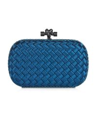 Bottega Veneta | Blue Satin Intrecciato Knot Clutch | Lyst