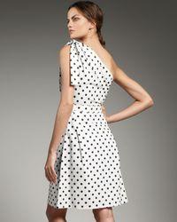 Carolina Herrera | White Polka Dot One Shoulder Dress | Lyst