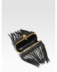 Alexander McQueen | Black Fringe Skull Leather Box Clutch | Lyst
