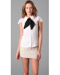 Alice + Olivia - White Petal Sleeve Blouse - Lyst
