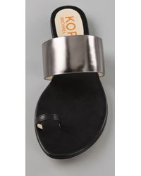 Kors by Michael Kors | Black Zen Toe Ring Flat Sandals | Lyst