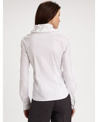 Lafayette 148 New York | White Ruffled Stretch-cotton Blouse | Lyst
