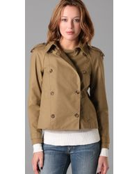 Madewell | Green Liverpool Cropped Trench Coat | Lyst